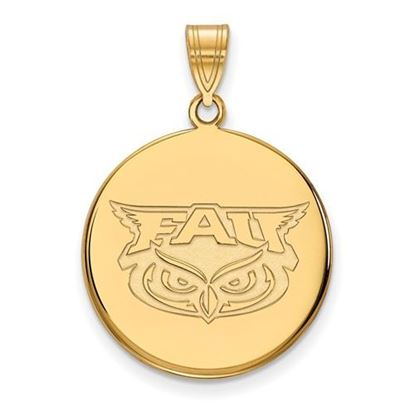 Picture of Florida Atlantic University Owls Sterling Silver Gold Plated Large Disc Pendant