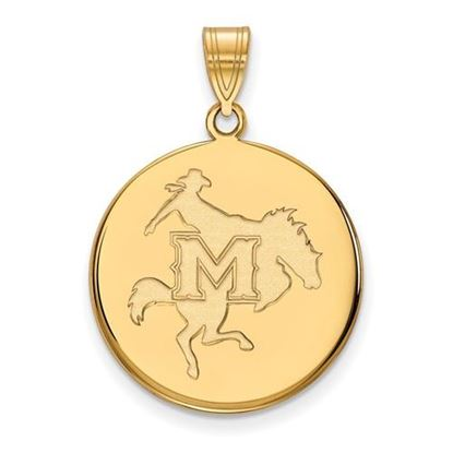 Picture of McNeese State University Cowboys Sterling Silver Gold Plated Large Disc Pendant