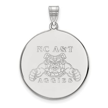 Picture of North Carolina A&T State University Aggies 10k White Gold Extra Large Disc Pendant