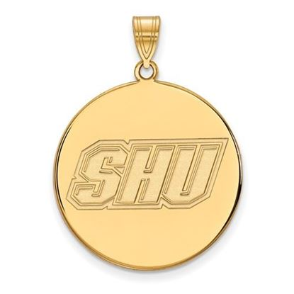 Picture of Sacred Heart University Pioneers Sterling Silver Gold Plated Extra Large Disc Pendant