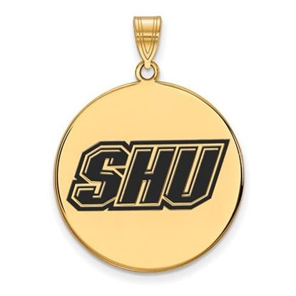 Picture of Sacred Heart University Pioneers Sterling Silver Gold Plated Extra Large Enameled Disc Pendant
