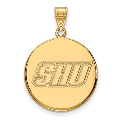 Picture of Sacred Heart University Pioneers Sterling Silver Gold Plated Large Disc Pendant