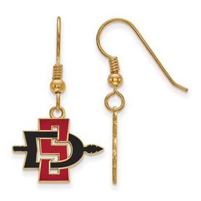 Picture of San Diego State University Aztecs Sterling Silver Gold Plated Small Dangle Earrings