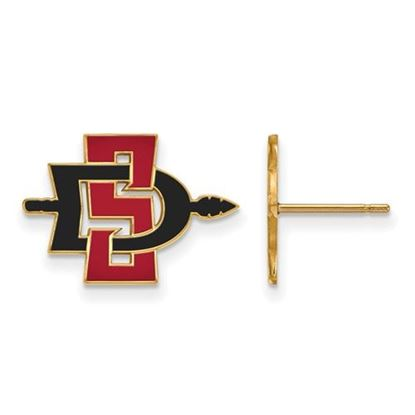 Picture of San Diego State University Aztecs Sterling Silver Gold Plated Small Post Earrings