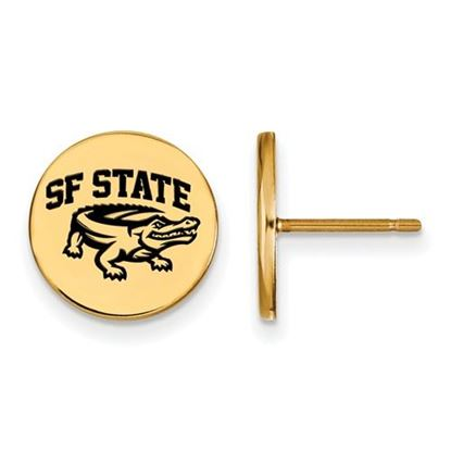 Picture of San Francisco State University Gators Sterling Silver Gold Plated Small Enameled Disc Earrings