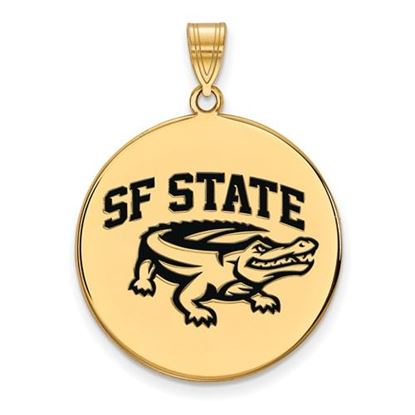 Picture of San Francisco State University Gators Sterling Silver Gold Plated Extra Large Enameled Disc Pendant