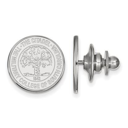 Picture of The Citadel Bulldogs 14k White Gold Crest Lapel Pin