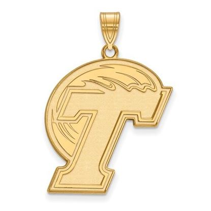 Picture of Tulane University Green Wave Sterling Silver Gold Plated Extra Large Enameled Pendant