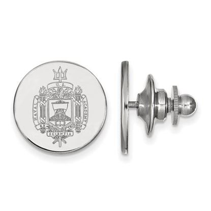 Picture of U.S. Naval Academy Midshipmen 14k White Gold Crest Lapel Pin