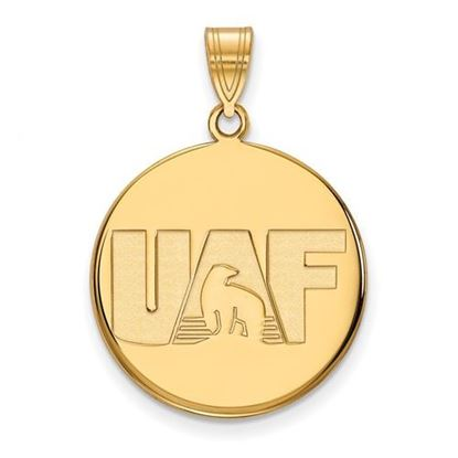 Picture of University of Alaska Fairbanks Nanooks Sterling Silver Gold Plated Large Disc Pendant