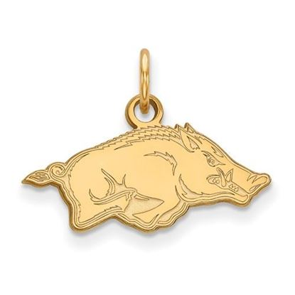 Picture of University of Arkansas Razorbacks Sterling Silver Gold Plated Extra Small Pendant