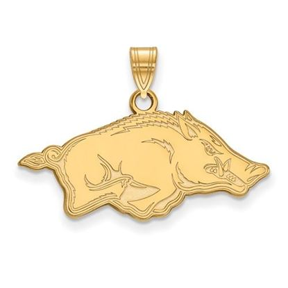 Picture of University of Arkansas Razorbacks Sterling Silver Gold Plated Small Pendant