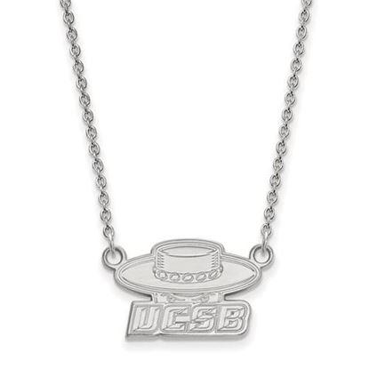 Picture of University of California Santa Barbara Gauchos 14k White Gold Small Necklace