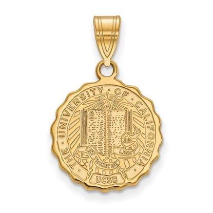 Picture of University of California Santa Barbara Gauchos Sterling Silver Gold Plated Medium Crest Pendant