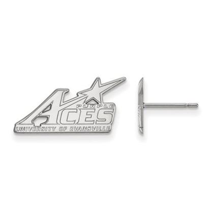 Picture of University of Evansville Purple Aces 14k White Gold Small Post Earrings