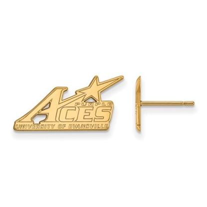 Picture of University of Evansville Purple Aces 14k Yellow Gold Small Post Earrings
