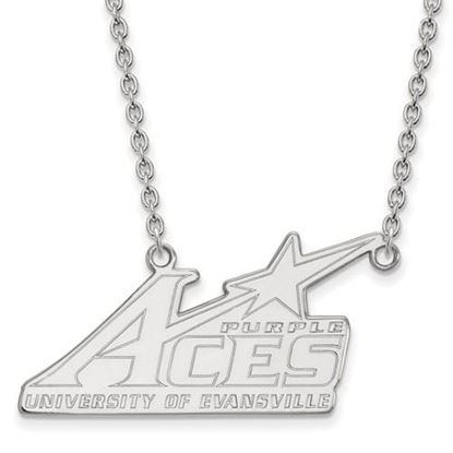 Picture of University of Evansville Purple Aces 14k White Gold Large Necklace