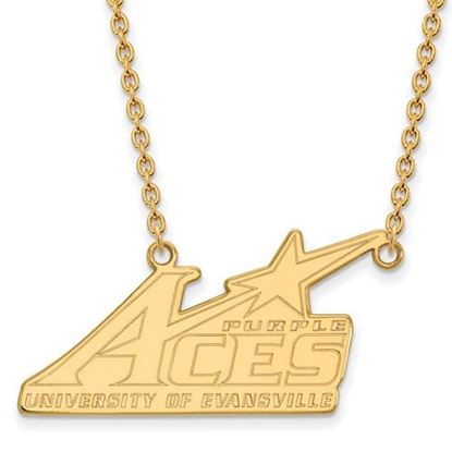 Picture of University of Evansville Purple Aces 14k Yellow Gold Large Necklace