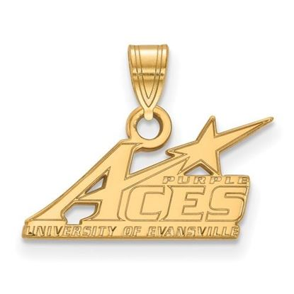 Picture of University of Evansville Purple Aces 14k Yellow Gold Small Pendant