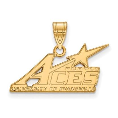 Picture of University of Evansville Purple Aces Sterling Silver Gold Plated Large Pendant