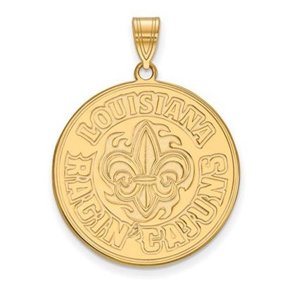 Picture of University of Louisiana at Lafayette Ragin' Cajuns Sterling Silver Gold Plated Extra Large Pendant