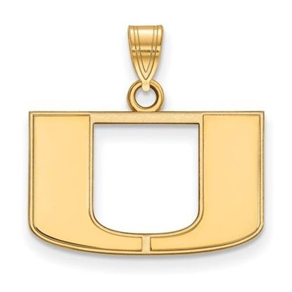 Picture of University of Miami Hurricanes Sterling Silver Gold Plated Small Pendant