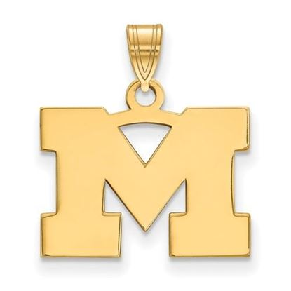Picture of University of Michigan Wolverines Sterling Silver Gold Plated Small Pendant