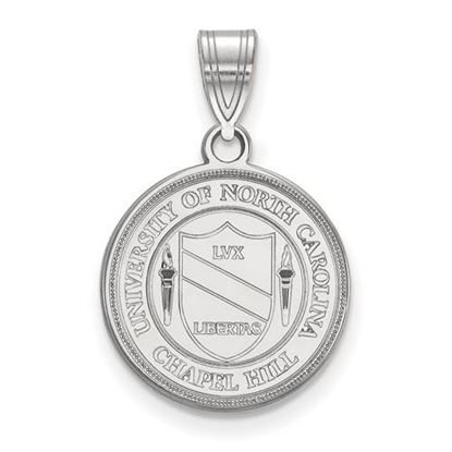 Picture of University of North Carolina Tar Heels 10k White Gold Medium Crest Pendant