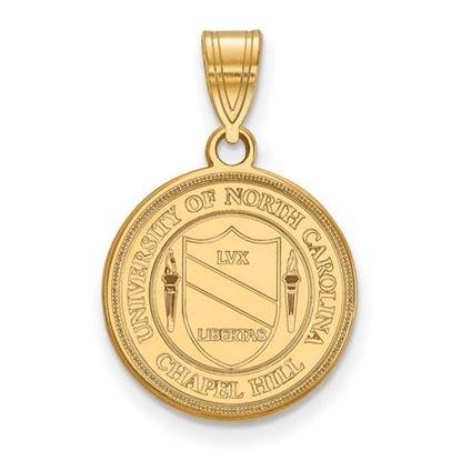 Picture of University of North Carolina Tar Heels 14k Yellow Gold Medium Crest Pendant
