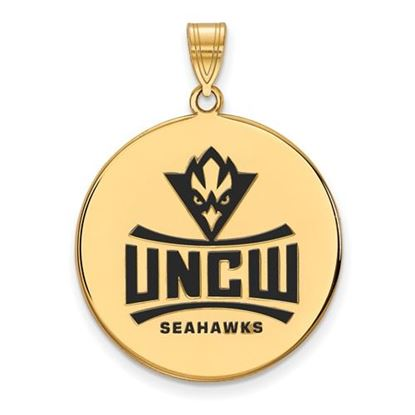Picture of University Of North Carolina Wilmington Seahawks Sterling Silver Gold Plated Extra Large Enameled Disc Pendant