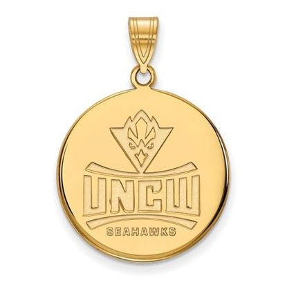 Picture of University Of North Carolina Wilmington Seahawks Sterling Silver Gold Plated Large Disc Pendant