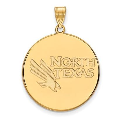 Picture of University of North Texas Mean Green Sterling Silver Gold Plated Extra Large Disc Pendant