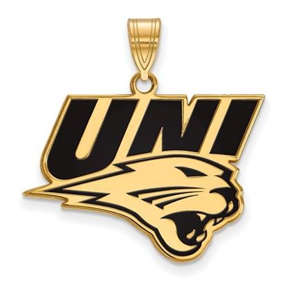 Picture of University of Northern Iowa Panthers Sterling Silver Gold Plated Large Enameled Pendant