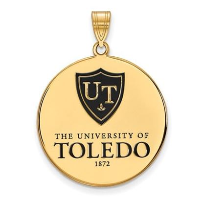 Picture of University of Toledo Rockets Sterling Silver Gold Plated Extra Large Enameled Disc Pendant