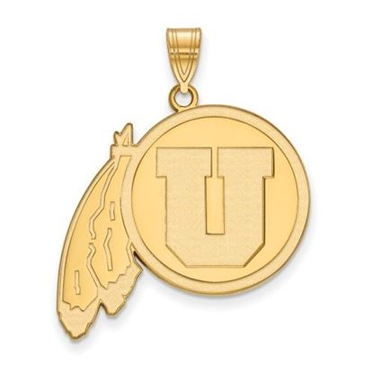 Picture of University of Utah Utes Sterling Silver Gold Plated Extra Large Pendant