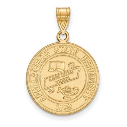Picture of Appalachian State University Mountaineers Sterling Silver Gold Plated Large Crest Pendant