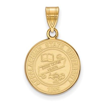 Picture of Appalachian State University Mountaineers Sterling Silver Gold Plated Medium Crest Pendant