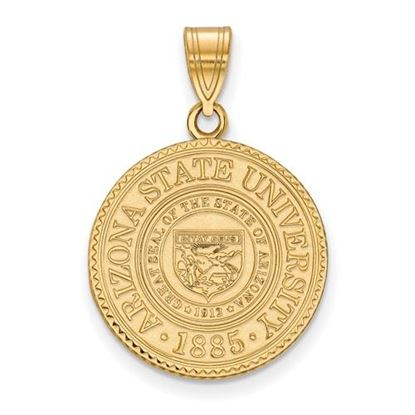 Picture of Arizona State University Sun Devils Sterling Silver Gold Plated Large Crest Pendant