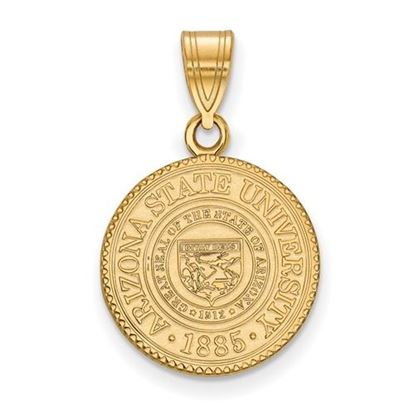Picture of Arizona State University Sun Devils Sterling Silver Gold Plated Medium Crest Pendant