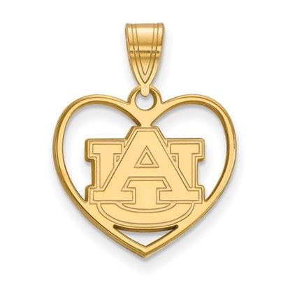 Picture of Auburn University Tigers Sterling Silver Gold Plated Heart Pendant