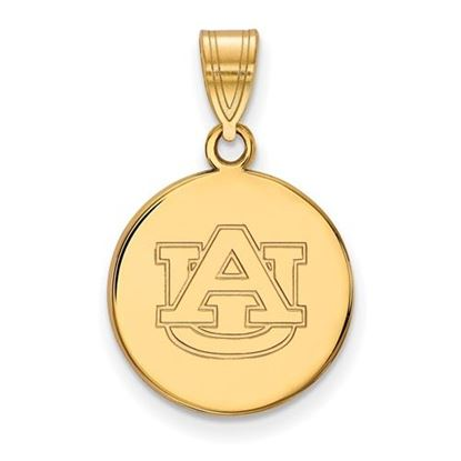 Picture of Auburn University Tigers Sterling Silver Gold Plated Medium Disc Pendant