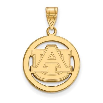 Picture of Auburn University Tigers Sterling Silver Gold Plated Small Circle Pendant