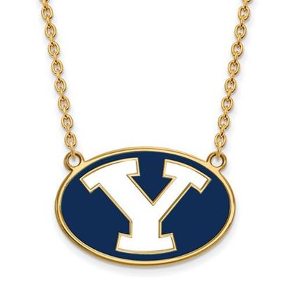 Picture of Brigham Young University Cougars 14k Sterling Silver Gold Plated Large Enameled Necklace