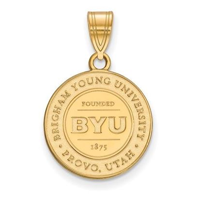Picture of Brigham Young University Cougars 14k Sterling Silver Gold Plated Medium Crest Pendant