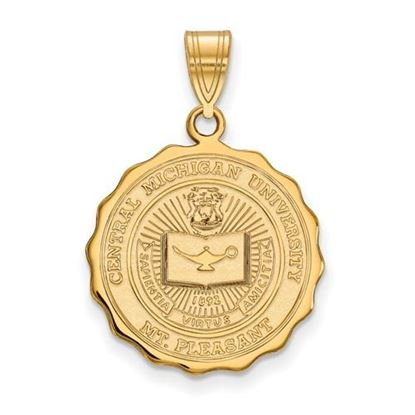 Picture of Central Michigan University Chippewas Sterling Silver Gold Plated Large Crest Pendant