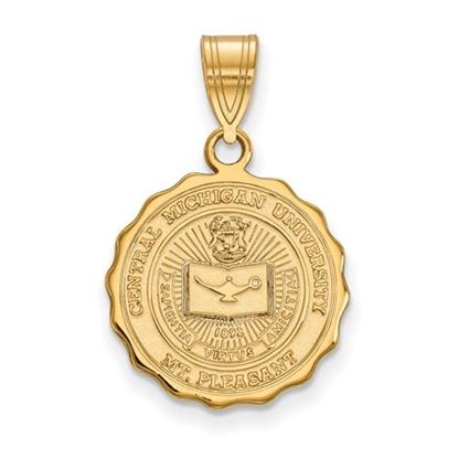 Picture of Central Michigan University Chippewas Sterling Silver Gold Plated Medium Crest Pendant