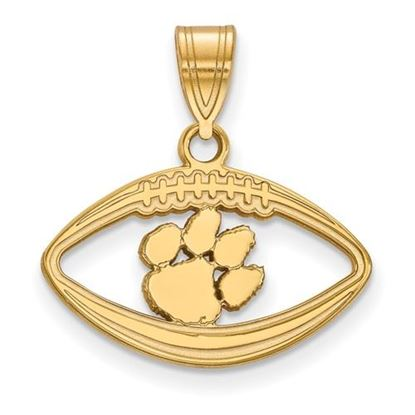 Picture of Clemson University Tigers Sterling Silver Gold Plated Football Pendant