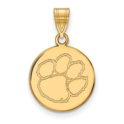 Picture of Clemson University Tigers Sterling Silver Gold Plated Medium Disc Pendant