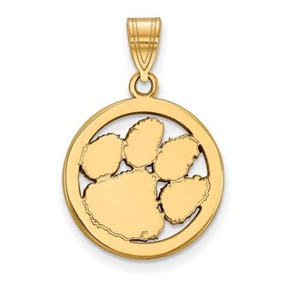 Picture of Clemson University Tigers Sterling Silver Gold Plated Small Circle Pendant