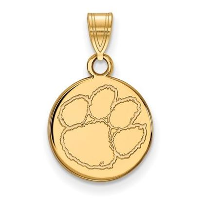 Picture of Clemson University Tigers Sterling Silver Gold Plated Small Disc Pendant